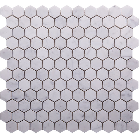 Hex GE01152 Carrara Venato Honed Hexagon Mosaic 25x25x10mm