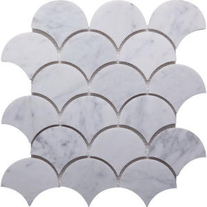 Fan GE01157 Carrara Honed Fan Mosaic 76x80x10mm