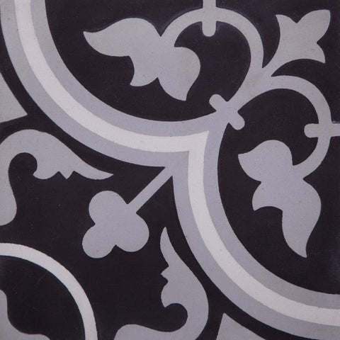 Fleur Tulip GE01165 Black, Grey & White Encaustic 200x200mm