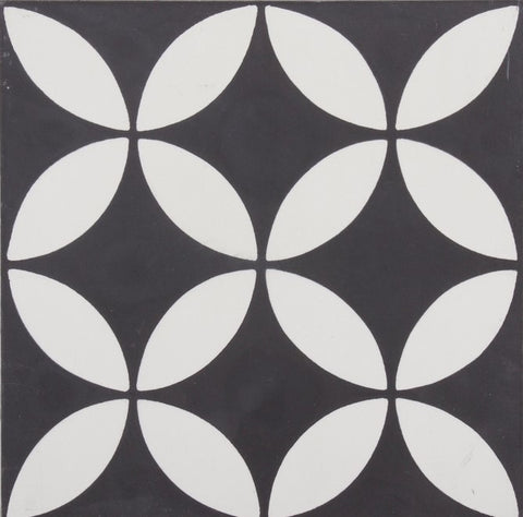 Fleur GE01166 Floral Pattern Black & White Encaustic 200x200mm