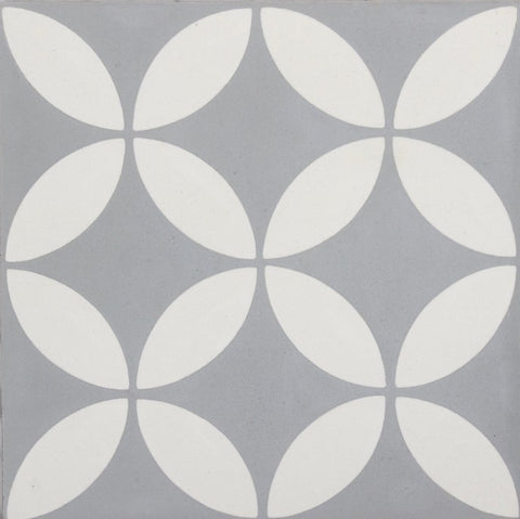 Fleur GE01167 Floral Pattern Grey & White Encaustic 200x200mm