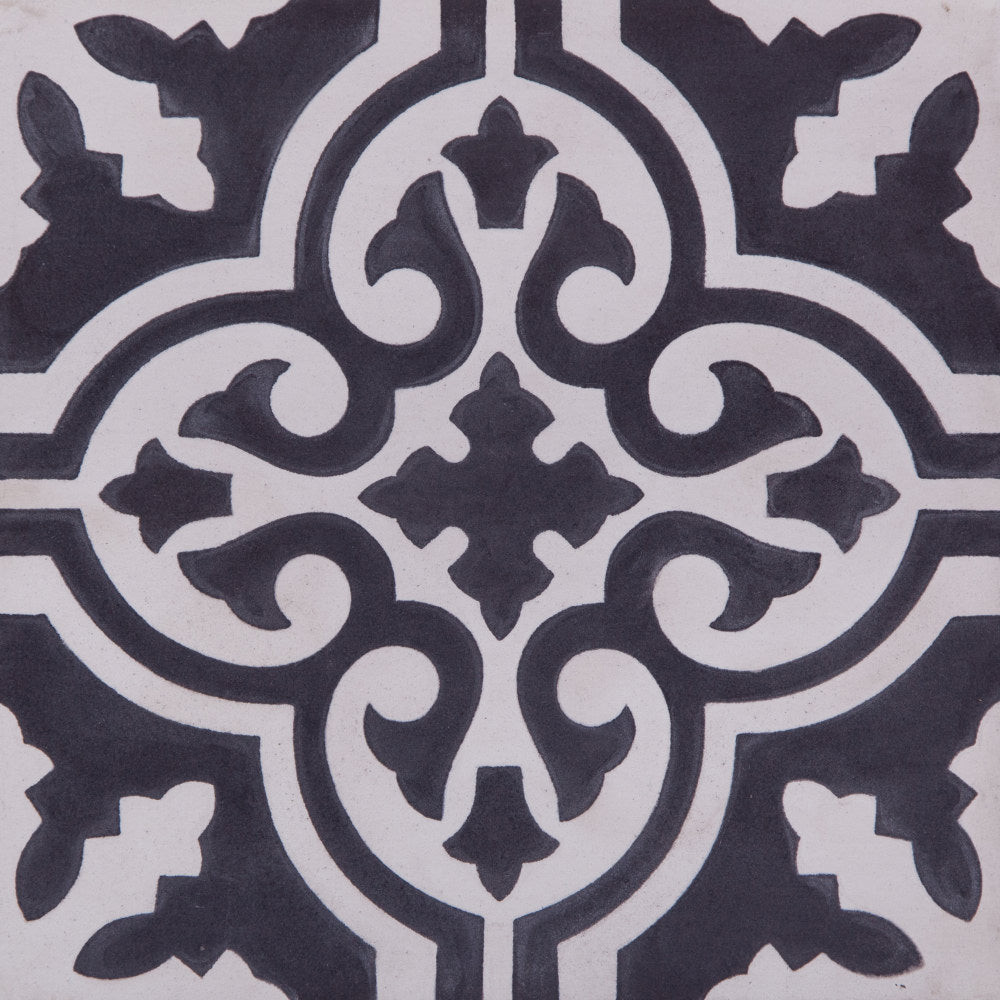 Fleur GE01160 pattern black & white encaustic 200x200mm