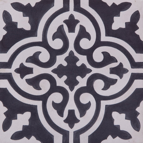 Fleur GE01160 Pattern Nlack & White Encaustic 200x200mm