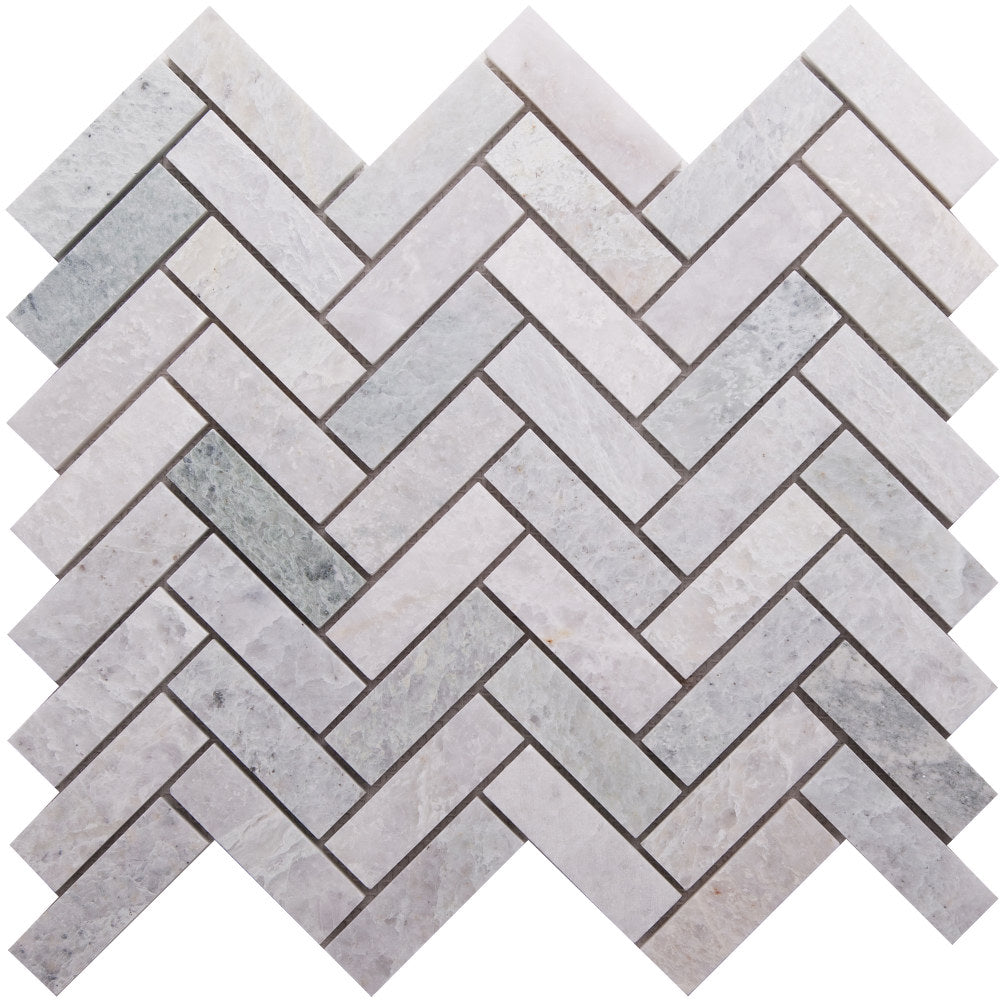 GE01175 Ming Green Honed Herringbone Mosaic 64x20x10mm