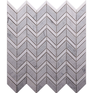 GE01178 Carrara Honed + Thassos Polished Chevron Mosaic 15x50mm+28x50mm