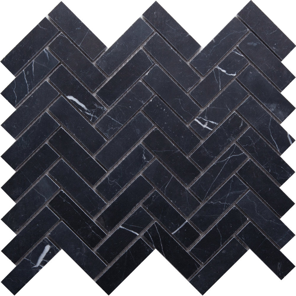 Herringbone GE01182 Nero Marquina Honed Herringbone Mosaic 64x20x10mm