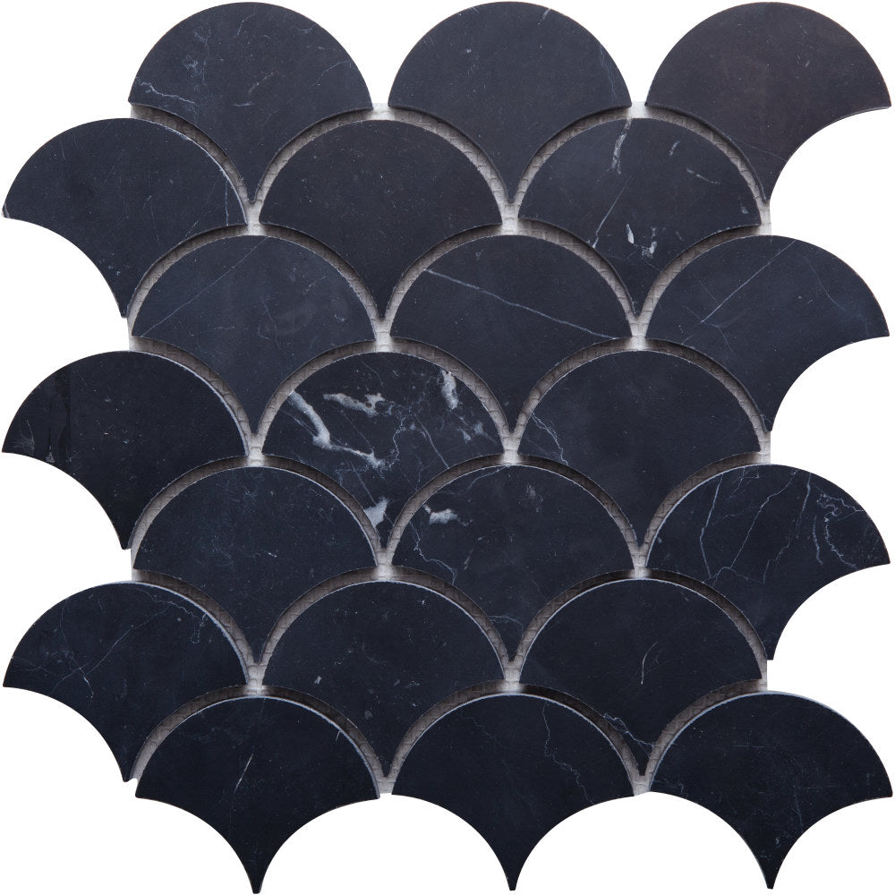 Fan GE01185 Nero Marquina Honed Fan Mosaic 78x60x10mm