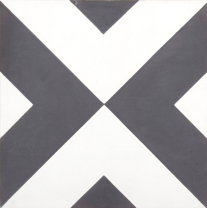 Fleur GE01341 Arrow Pattern Black & White Encaustic 200x200mm