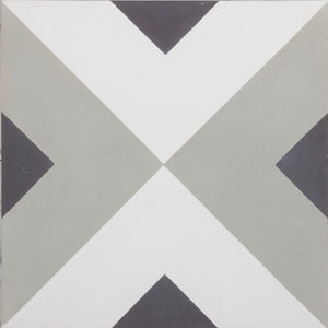 Fleur GE01342 Arrow Pattern Grey, Black & White Encaustic 200x200mm