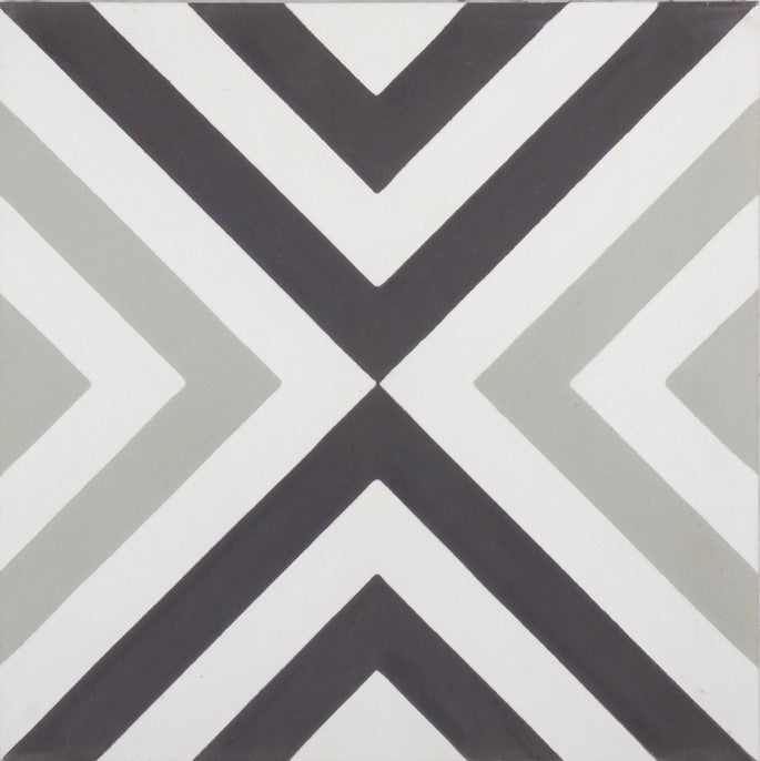 Fleur GE01343 Arrow Pattern Grey, Black & White encaustic 200x200mm