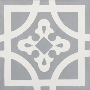 Fleur GE01344 Cambridge Pattern Grey & White Encaustic 200x200mm