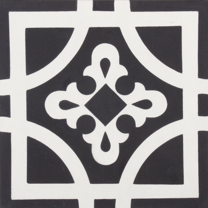 Fleur GE01345 Cambridge Pattern Black & White Encaustic 200x200mm
