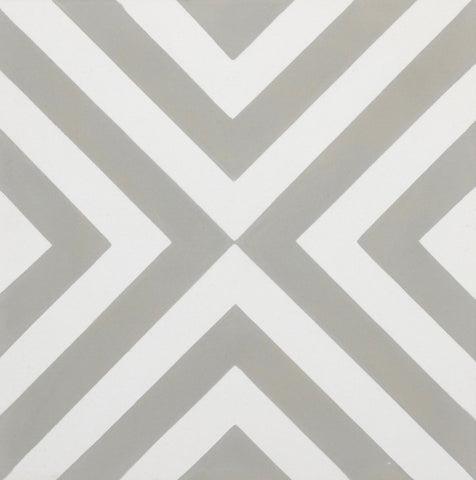 Fleur GE01346 Arrow Pattern Grey & White Encaustic 200x200mm