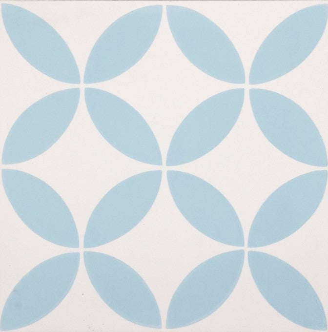 Fleur GE01347 Floral Pattern Blue & White Encaustic 200x200mm