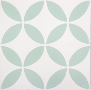 Fleur GE01349 pattern green & white encaustic 200x200mm