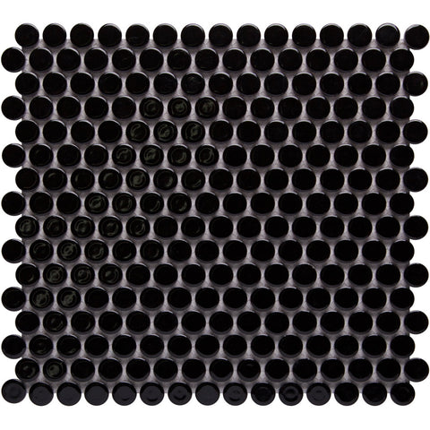 Pebbles GK03183 19mm glazed penny round gloss black