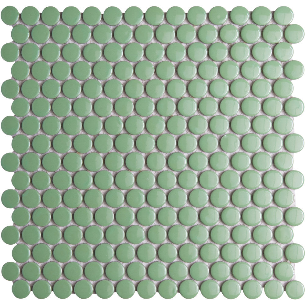 Pebbles GK03185 19mm glazed penny round gloss green