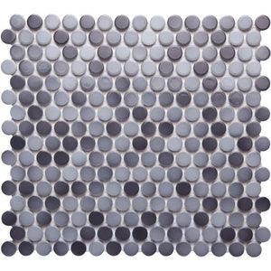 Pebbles GK03189 19mm glazed penny round gloss mixed grey