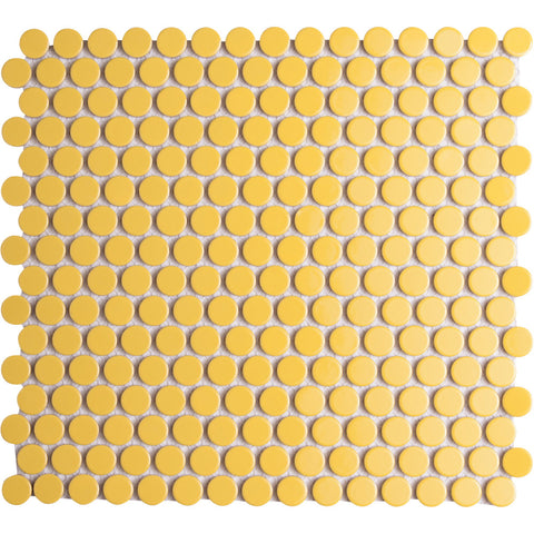 Pebbles GK03191 19mm glazed penny round gloss yellow