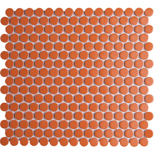 Pebbles GK03192 19mm glazed penny round gloss orange