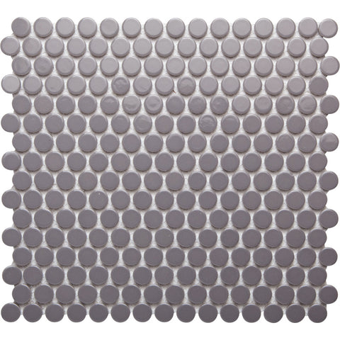 Pebbles GK03194 19mm glazed penny round grey gloss