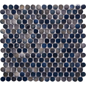 Pebbles GK03216 19mm glazed penny round gloss mixed mottled dark blue teal greeny beige