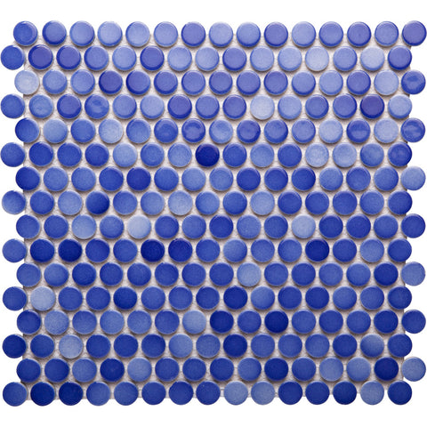 Pebbles GK03219 19mm glazed penny round gloss mixed mottled blue dark cornflower