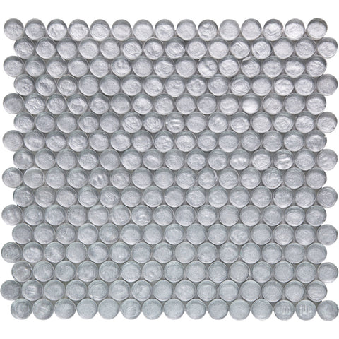 Pebbles GK03254 20mm glass mosaic penny round silver