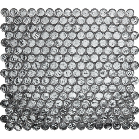 Pebbles GK03255 20mm glass penny round mosaic dark grey anthracite