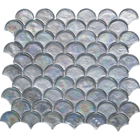 Fan GK03257 Silver Metallic Rainbow Glass Fan Mosaic 25mm