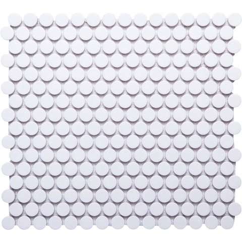 Pebbles GK03182 19mm glazed penny round white matt glazed