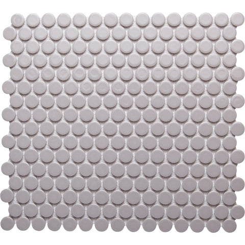 Pebbles GK03187 19mm glazed penny round metallic ash grey