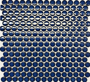 Pebbles GX07733 penny round mosaic 19mm diameter gloss blue