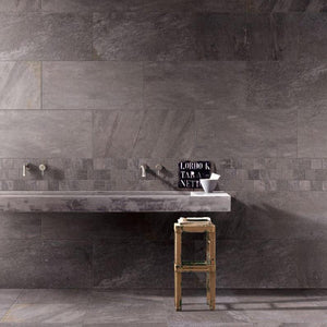Pietra series Carbone porcelain tile 10mm thick, texture 00