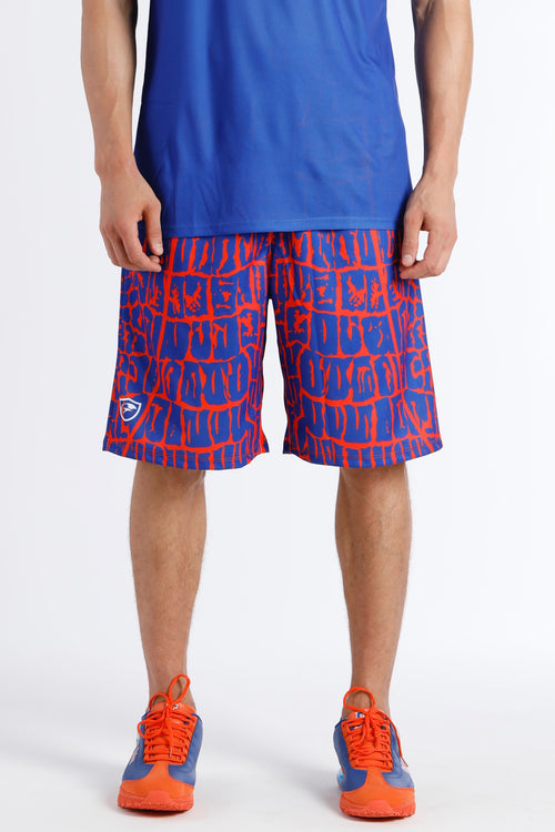 Men's Sublimated Gator Skin Shorts GSS-Blue/ Orange