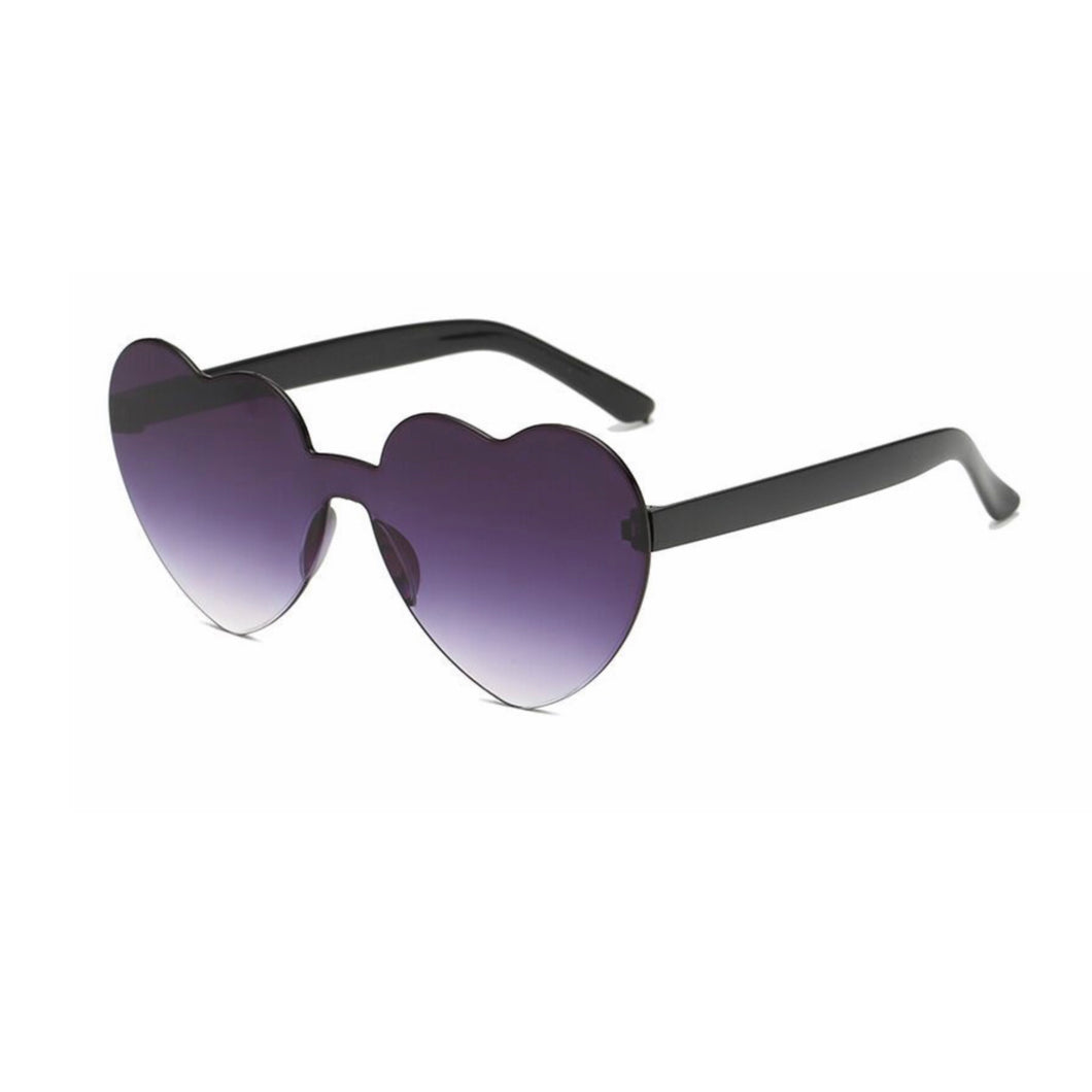 Grey Black Heart Sunglasses