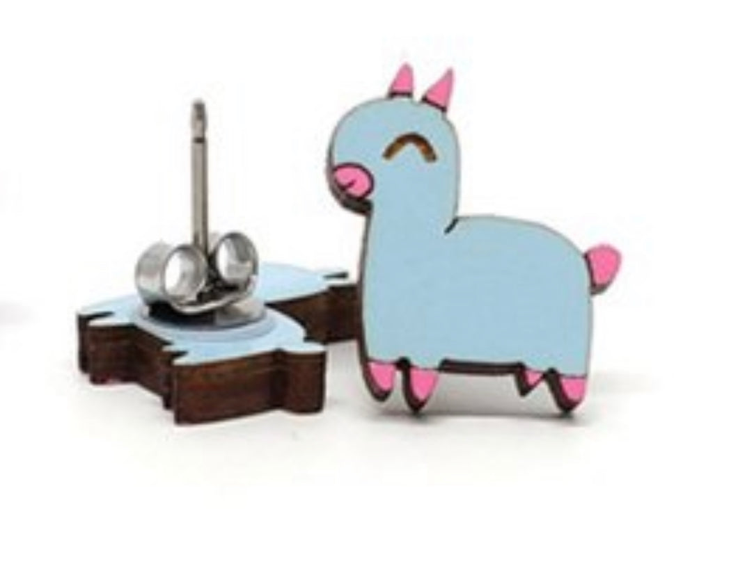 Cotton Candy Blue Llama Earrings