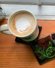 Rose City Coaster - beautiful vibrant and colorful rose infused into handmade black glass coaster.