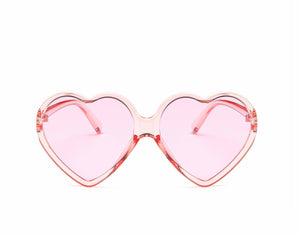 Clear Pink Heart Sunglasses