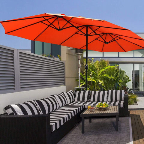 Costway Outdoor Orange 15 Ft Patio Umbrella Outdoor Umbrella with Crank & Base