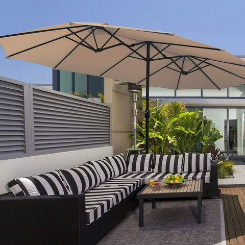 Costway Outdoor 15 Ft Patio Umbrella Outdoor Umbrella with Crank & Base