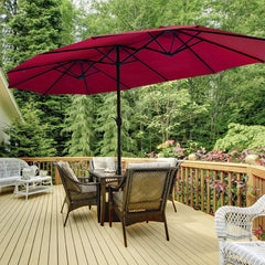 15 Ft Double Size Patio Umbrella Outdoor Umbrella with Crank & Base