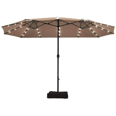 Costway Outdoor 15 Ft Solar LED Patio Double-sided Umbrella Market Umbrella