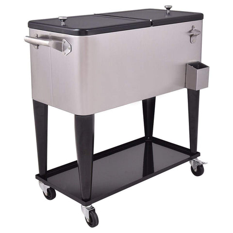 Costway Patio 80 Quart Patio Rolling Stainless Steel Ice Beverage Cooler