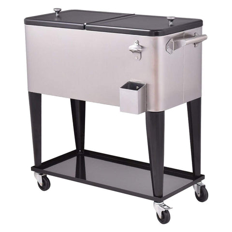 CW Patio 80 Quart Patio Rolling Stainless Steel Ice Beverage Cooler