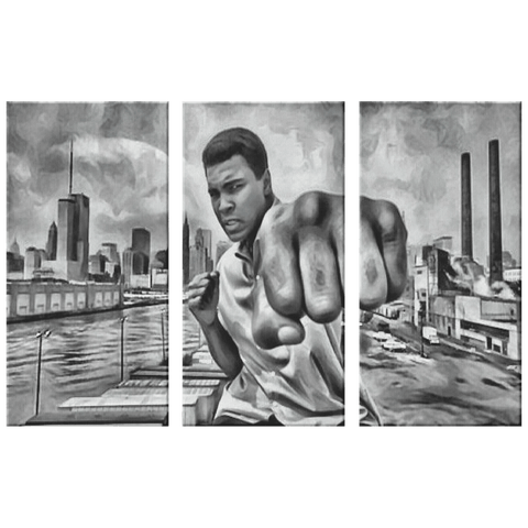 teelaunch Canvas Wall Art Set 3 36x24 (12x24 ea.) Ali Said Knock You Out!