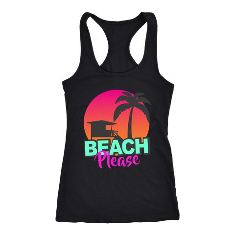 "teelaunch T-shirt Racerback Tank / Black / XS ""BEACH PLEASE"" PREMIUM RACERS TANK-TOP"