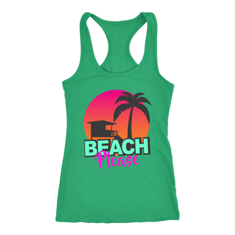 "teelaunch T-shirt Racerback Tank / Kelly Green / XS ""BEACH PLEASE"" PREMIUM RACERS TANK-TOP"