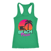 "Image of teelaunch T-shirt Racerback Tank / Kelly Green / XS ""BEACH PLEASE"" PREMIUM RACERS TANK-TOP"