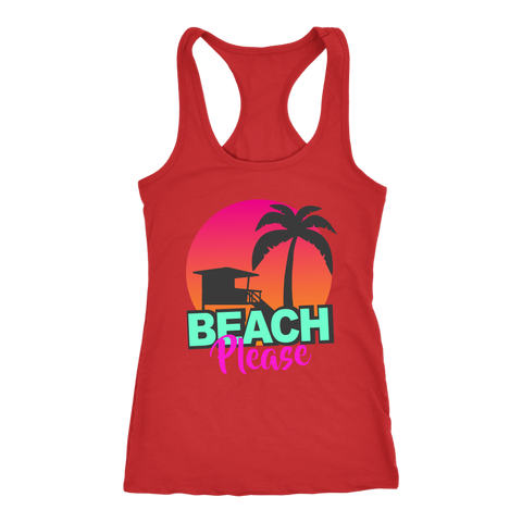 "teelaunch T-shirt Racerback Tank / Red / XS ""BEACH PLEASE"" PREMIUM RACERS TANK-TOP"